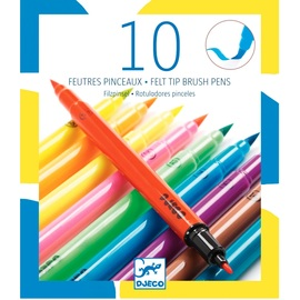 Djeco Felt Brushes Pop Colours - 10 Pk Double ended Felt Markers