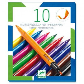 Djeco Felt Brushes Classic - 10 Pk Double ended Felt Markers