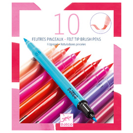 Djeco Felt Brushes Pastel Colours - 10 Pack Double ended Felt Markers