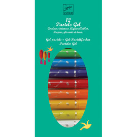 Djeco Gel Pastels - 12 Pk Assorted Colour Pastels