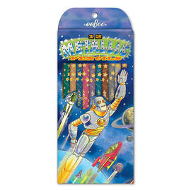 eeBoo Metallic Colouring Pencils - Robot Rescue 12 Pack