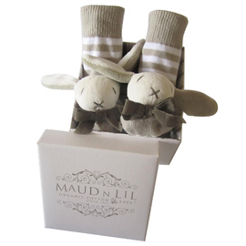 Maud N Lil Organic Cotton Baby Rattle Socks - White/Grey Bunny (Gift Boxed)