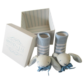 Maud N Lil Organic Cotton Baby Rattle Socks - White/Blue Bunny (Gift Boxed)