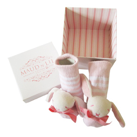 Maud N Lil Organic Cotton Baby Rattle Socks - White/Pink Bunny (Gift Boxed)