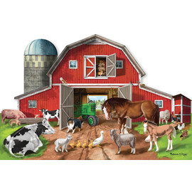 Melissa & Doug - Busy Barn Shaped Floor Puzzle - 32pc
