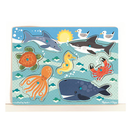 Melissa & Doug - Sea Creatures Wooden Peg Jigsaw Puzzle