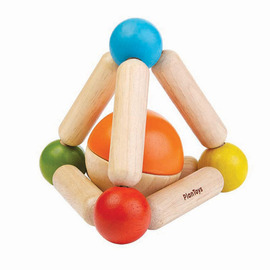 Plan Toys Triangle Clutching Toy - Wooden Eco Toy for Babies