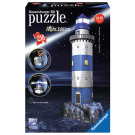 Ravensburger Night Edition Lighthouse At Night LED 3D Puzzle 216pc