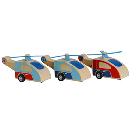 Tiger Tribe Wooden Pull-Back Helicopters