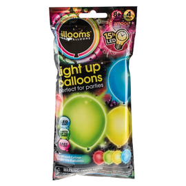 iLLooms LED Light Up Balloons - Assorted 4 Pack