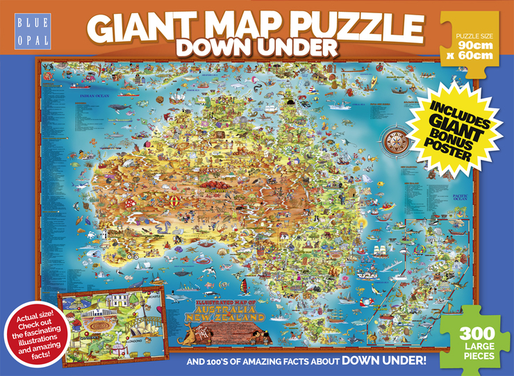 Blue Opal Down Under Giant Map Jigsaw Puzzle 300pcLarge Pce Australia /& NZ