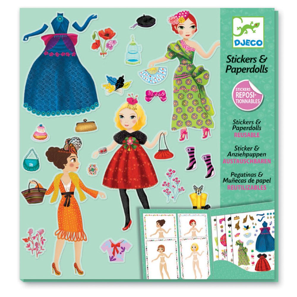 Djeco Paper Dolls & Stickers Massive Fashion | Kids Craft Activity Kits