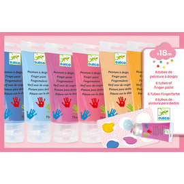 Djeco Finger Paints - 6 Pk Assorted Sweet Pastel Colours