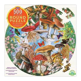 eeBoo Mushrooms & Butterflies 500pc Round Jigsaw Puzzle