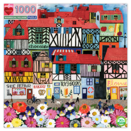 eeBoo Whimsical Village 1000pc Square Jigsaw Puzzle