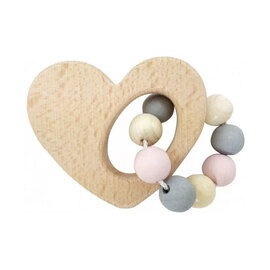 Hess-Spielzeug Wooden Heart Rattle  |  Natural Pink