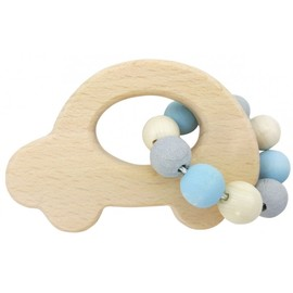 Hess-Spielzeug Rattle Car Natural Blue | Wooden Baby Toy