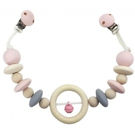 Hess-Spielzeug Pram Chain | Natural Pink Wooden Pram Toy