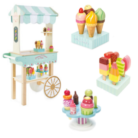Le Toy Van Ultimate Honeybake Wooden Ice Cream and Treats Trolley Bundle