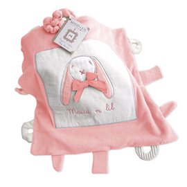 Maud N Lil Organic Cotton Baby Play Blankie - Rose The Bunny Pink