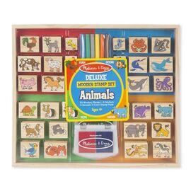 Melissa & Doug - Deluxe Wooden Stamp Set | Animals