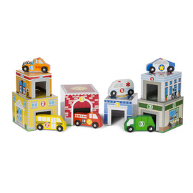 Melissa & Doug - Nesting & Sorting Buildings & Vehicles Set
