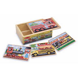 Melissa & Doug - Vehicles Wooden Jigsaw Puzzles In A Box