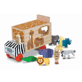Melissa & Doug - Safari Animal Rescue Wooden Shape Sorting Truck