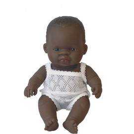Miniland Doll - African Baby Girl 21cm | Anatomically Correct Baby Doll