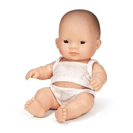 Miniland Doll - Asian Baby Girl 21cm | Anatomically Correct Baby Doll