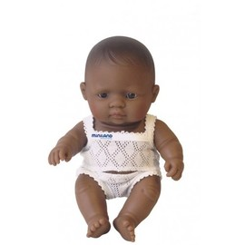Miniland Doll - Hispanic Baby Girl 21cm | Anatomically Correct Baby Doll