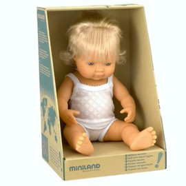 Miniland Doll - Caucasian Girl 38cm | Anatomically Correct Baby Doll