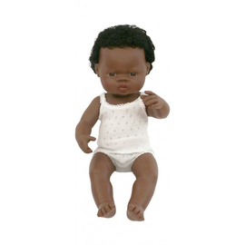 Miniland Doll - African Boy 38cm | Anatomically Correct Baby Doll