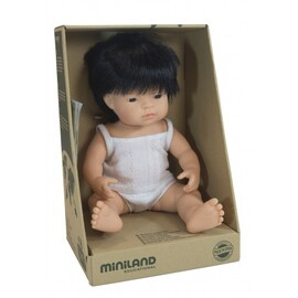 Miniland Doll - Asian Boy 38cm | Anatomically Correct Baby Doll