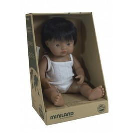 Miniland Doll - Hispanic Boy 38cm | Anatomically Correct Baby Doll