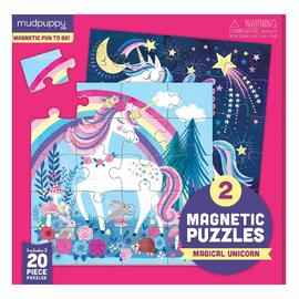 Mudpuppy Magical Unicorn | Magnetic Jigsaw Puzzle 2 x 20pc