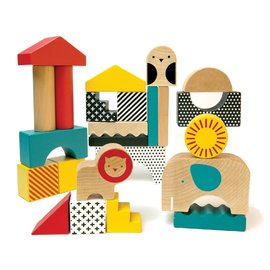 Petit Collage - Animal Town Wooden Building Blocks