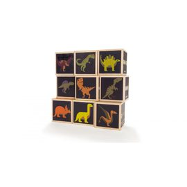 Uncle Goose Dinosaur Blocks - 9 Pce Handmade Wooden Block Set