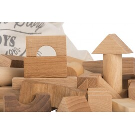 Wooden Story Natural Blocks in a Sack  | 100 Piece Handmade Wooden Block Set