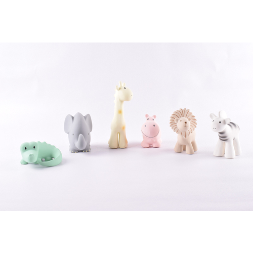 Tikiri My First Zoo Animals | Natural Rubber Rattle & Teether Toys - 6 Assorted Designs
